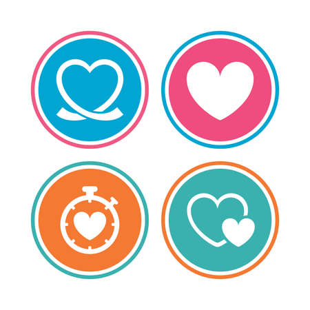 palpitation: Heart ribbon icon. Timer stopwatch symbol. Love and Heartbeat palpitation signs. Colored circle buttons. Vector