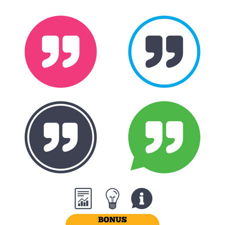 inverted: Quote sign icon. Quotation mark symbol. Double quotes at the end of words. Report document, information sign and light bulb icons. Vector Illustration