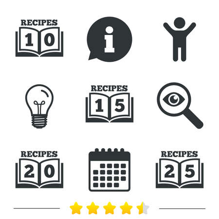 15 to 20: Cookbook icons. 10, 15, 20 and 25 recipes book sign symbols. Information, light bulb and calendar icons. Investigate magnifier. Vector Illustration