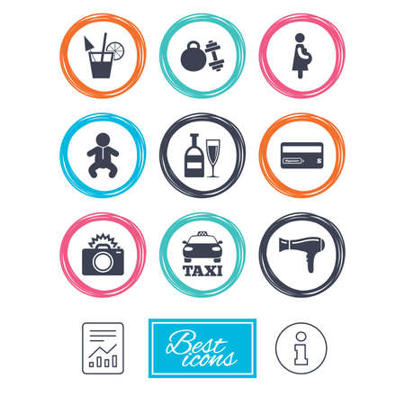 pregnancy exercise: Hotel, apartment service icons. Fitness gym. Alcohol cocktail, taxi and hairdryer symbols. Report document, information icons. Vector
