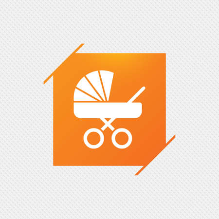 buggy: Baby pram stroller sign icon. Baby buggy. Baby carriage symbol. Orange square label on pattern. Vector Illustration
