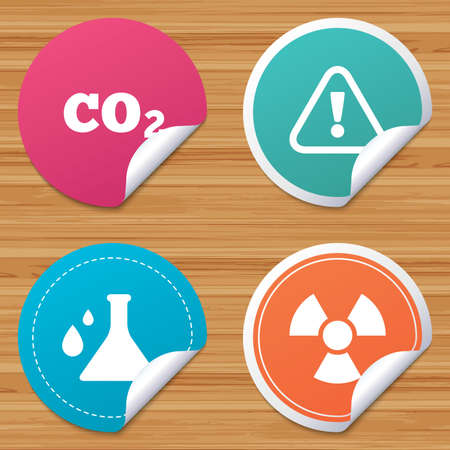 danger carbon dioxide  co2  labels: Round stickers or website banners. Attention and radiation icons. Chemistry flask sign. CO2 carbon dioxide symbol. Circle badges with bended corner. Vector Illustration