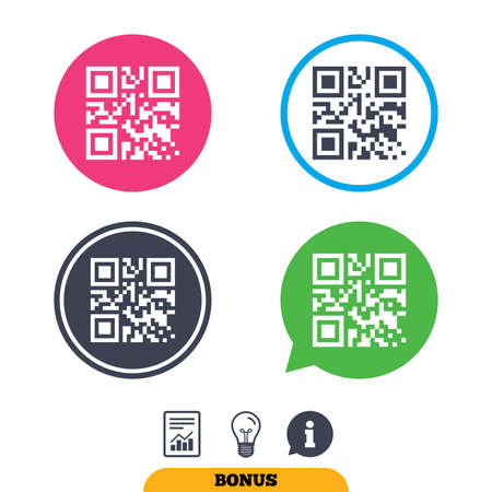 qrcode: Qr code sign icon. Scan code symbol. Coded word - success! Report document, information sign and light bulb icons. Vector