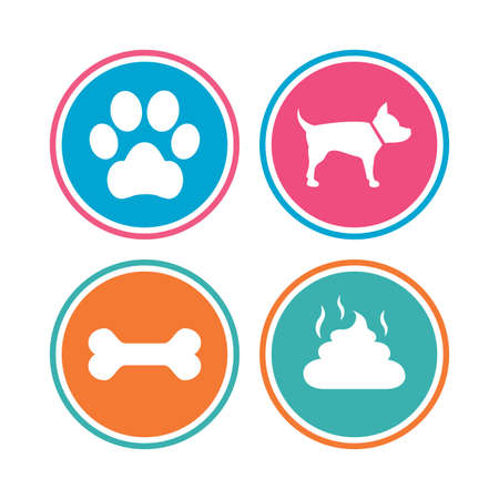faeces: Pets icons. Dog paw and feces signs. Clean up after pets. Pets food. Colored circle buttons. Vector Illustration