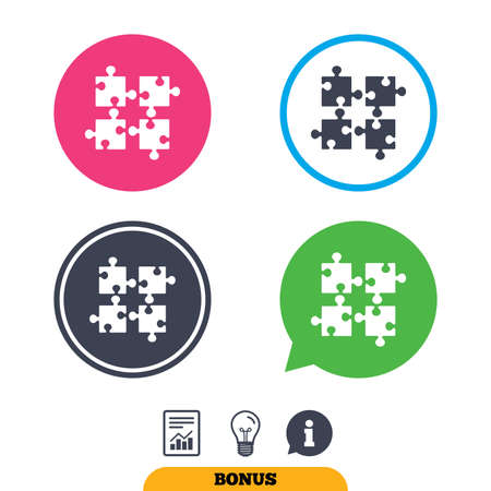 conundrum: Puzzles pieces sign icon. Strategy symbol. Ingenuity test game. Report document, information sign and light bulb icons. Vector Illustration