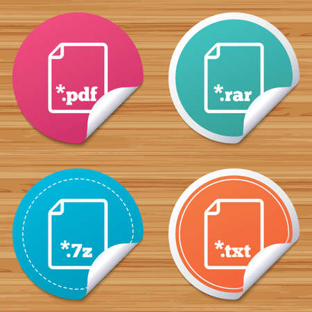 txt: Round stickers or website banners. Download document icons. File extensions symbols. PDF, RAR, 7z and TXT signs. Circle badges with bended corner. Vector