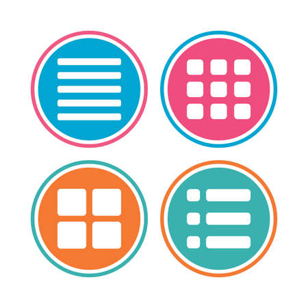 thumbnails: List menu icons. Content view options symbols. Thumbnails grid or Gallery view. Colored circle buttons. Vector