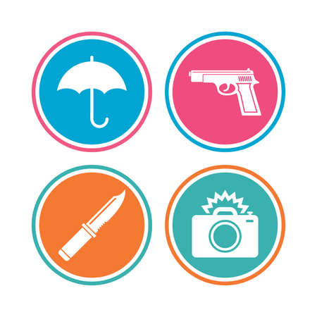 edged: Gun weapon icon.Knife, umbrella and photo camera with flash signs. Edged hunting equipment. Prohibition objects. Colored circle buttons. Vector