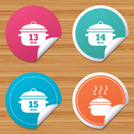 thirteen: Round stickers or website banners. Cooking pan icons. Boil 13, 14 and 15 minutes signs. Stew food symbol. Circle badges with bended corner. Vector