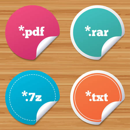 txt: Round stickers or website banners. Document icons. File extensions symbols. PDF, RAR, 7z and TXT signs. Circle badges with bended corner. Vector