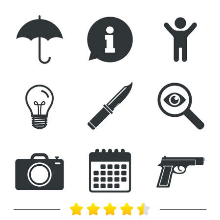 edged: Gun weapon icon.Knife, umbrella and photo camera signs. Edged hunting equipment. Prohibition objects. Information, light bulb and calendar icons. Investigate magnifier. Vector