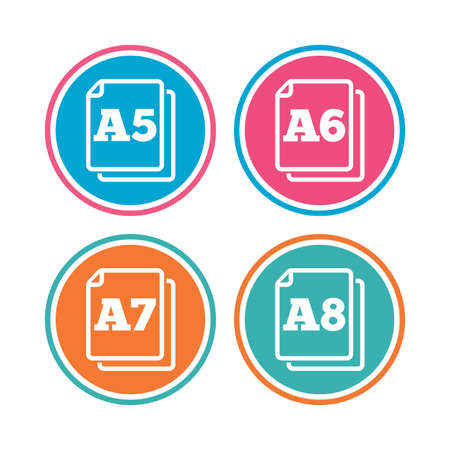 a7: Paper size standard icons. Document symbols. A5, A6, A7 and A8 page signs. Colored circle buttons. Vector