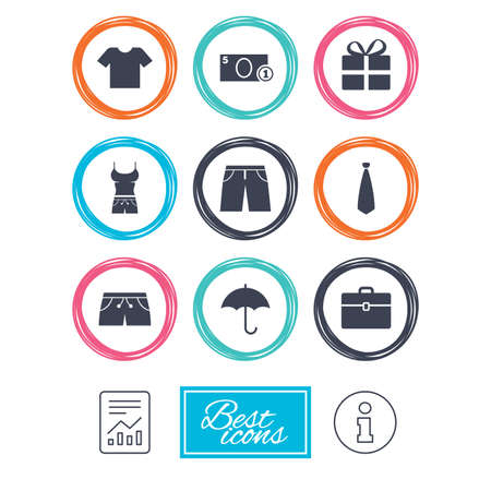 Clothing, accessories icons. T-shirt, business case signs. Umbrella and gift box symbols. Report document, information icons. Vector