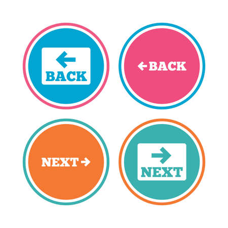 Back and next navigation signs. Arrow direction icons. Colored circle buttons. Vector