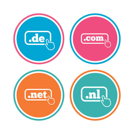 nl: Top-level internet domain icons. De, Com, Net and Nl symbols with hand pointer. Unique national DNS names. Colored circle buttons. Vector