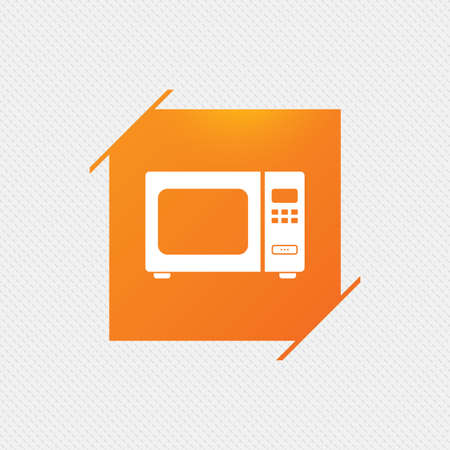electric stove: Microwave oven sign icon. Kitchen electric stove symbol. Orange square label on pattern. Vector