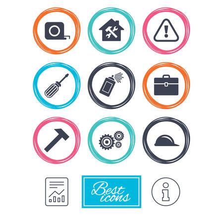 Reparación, iconos de la construcción. Casco, destornillador y martillo signos. Engranajes, rociado de pintura y símbolos de atención. Informe documento, los iconos de información. Vector
