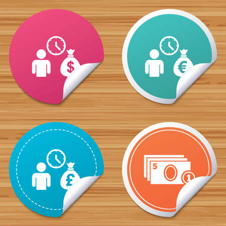 borrow: Round stickers or website banners. Bank loans icons. Cash money bag symbols. Borrow money sign. Get Dollar money fast. Circle badges with bended corner. Vector