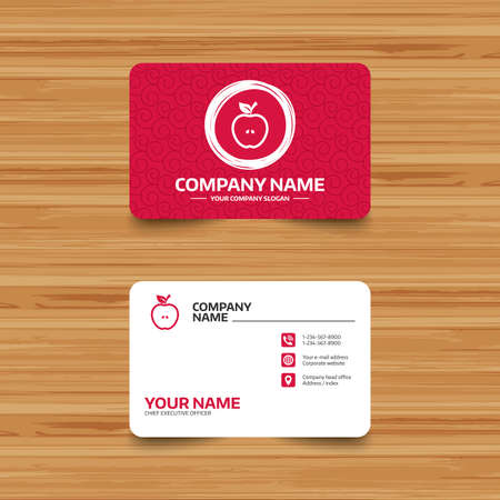 Business card template with texture apple sign icon fruit with business card template with texture apple sign icon fruit with leaf symbol phone accmission Choice Image
