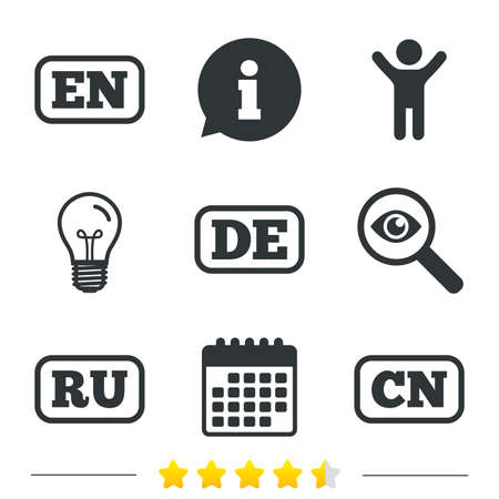 en: Language icons. EN, DE, RU and CN translation symbols. English, German, Russian and Chinese languages. Information, light bulb and calendar icons. Investigate magnifier. Vector Illustration
