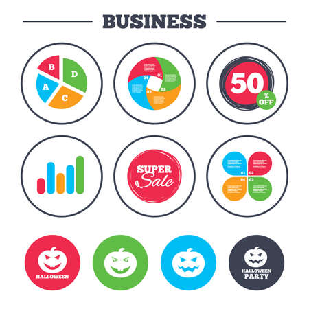 hallows: Business pie chart. Growth graph. Halloween pumpkin icons. Halloween party sign symbol. All Hallows Day celebration. Super sale and discount buttons. Vector