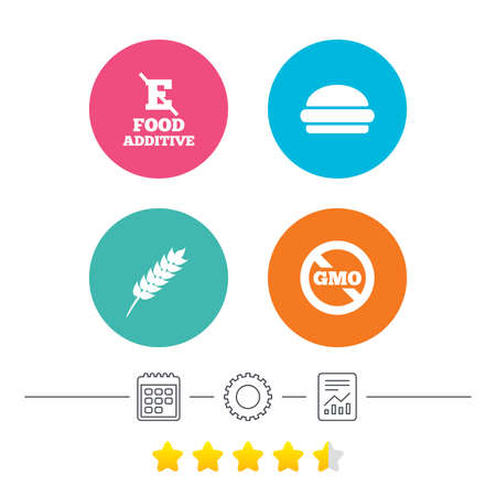 stabilizers: Food additive icon. Hamburger fast food sign. Gluten free and No GMO symbols. Without E acid stabilizers. Calendar, cogwheel and report linear icons. Star vote ranking. Vector