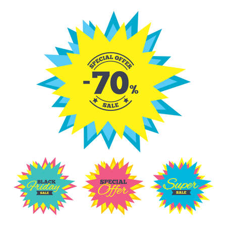 seventy: Sale stickers and banners. 70 percent discount sign icon. Sale symbol. Special offer label. Star labels. Vector