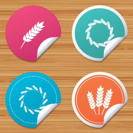 bended: Round stickers or website banners. Agricultural icons. Gluten free or No gluten signs. Wreath of Wheat corn symbol. Circle badges with bended corner. Vector