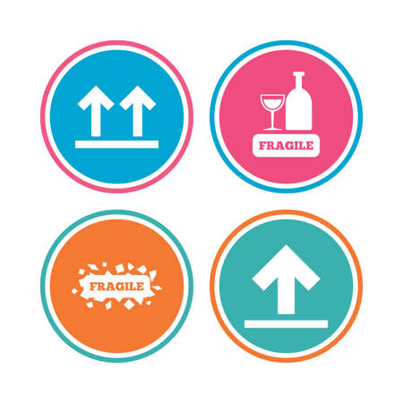 Fragile icons. Delicate package delivery signs. This side up arrows symbol. Colored circle buttons. Vector Illustration