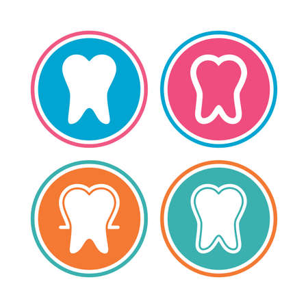 enamel: Tooth enamel protection icons. Dental care signs. Healthy teeth symbols. Colored circle buttons. Vector