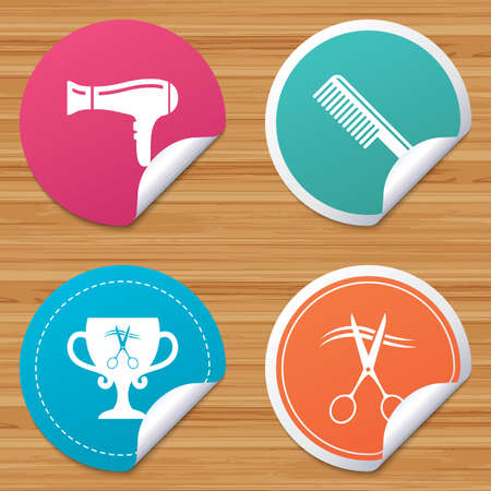 comb hair: Round stickers or website banners. Hairdresser icons. Scissors cut hair symbol. Comb hair with hairdryer symbol. Barbershop winner award cup. Circle badges with bended corner. Vector