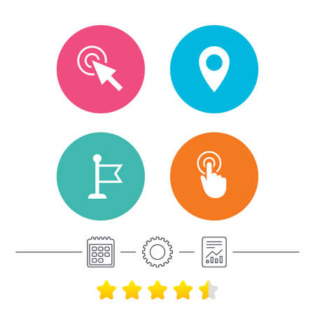 Mouse cursor icon. Hand or Flag pointer symbols. Map location marker sign. Calendar, cogwheel and report linear icons. Star vote ranking. Vector