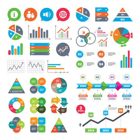 dynamic growth: Business charts. Growth graph. Information sign. Group of people and speaker volume symbols. Internet globe sign. Communication icons. Market report presentation. Vector