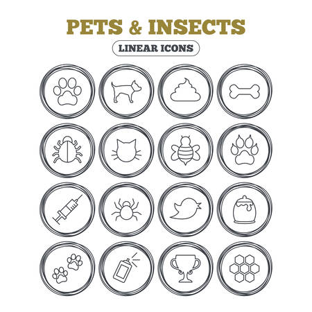 faeces: Pets and Insects icons. Dog paw. Cat paw with clutches. Bone, feces excrement and vaccination. Honey, bee and honey comb. Circle flat buttons with linear icons. Vector Illustration