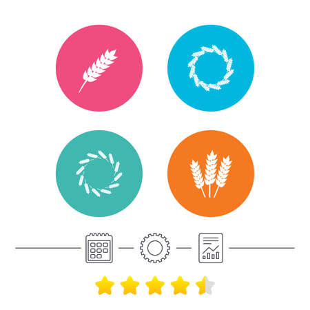 Agricultural icons. Gluten free or No gluten signs. Wreath of Wheat corn symbol. Calendar, cogwheel and report linear icons. Star vote ranking. Vector
