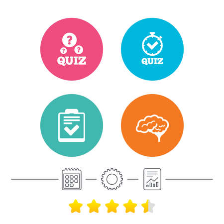 report form: Quiz icons. Human brain think. Checklist and stopwatch timer symbol. Survey poll or questionnaire feedback form sign. Calendar, cogwheel and report linear icons. Star vote ranking. Vector Illustration