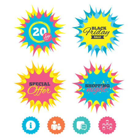 Shopping night, black friday stickers. Information sign. Group of people and database symbols. Chat speech bubbles sign. Communication icons. Special offer. Vector