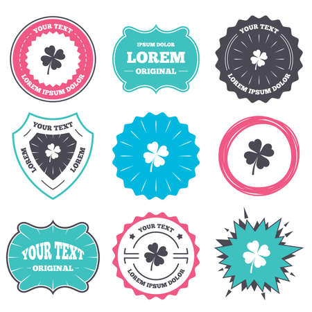 clover banners: Label and badge templates. Clover with four leaves sign icon. Saint Patrick symbol. Retro style banners, emblems. Vector Illustration