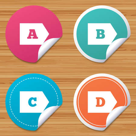 bended: Round stickers or website banners. Energy efficiency class icons. Energy consumption sign symbols. Class A, B, C and D. Circle badges with bended corner. Vector Illustration