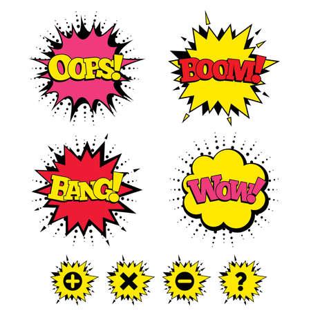 Comic Boom, Wow, Oops geluidseffecten. Plus en min iconen. Verwijder en vraag FAQ teken borden. Vergroten zoom symbool. Tekstballonnen in pop art. Vector