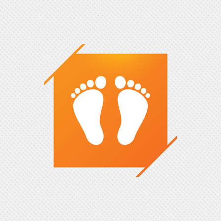 Child pair of footprint sign icon. Toddler barefoot symbol. Orange square label on pattern. Vector