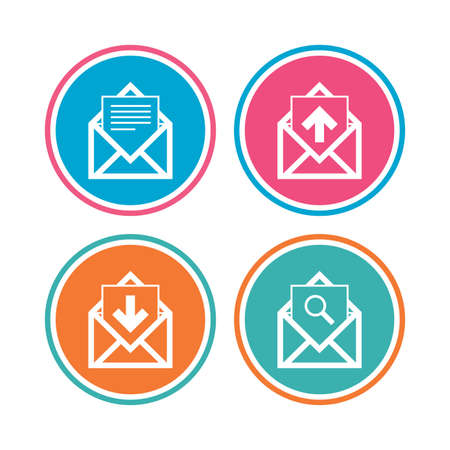incoming: Mail envelope icons. Find message document symbol. Post office letter signs. Inbox and outbox message icons. Colored circle buttons. Vector