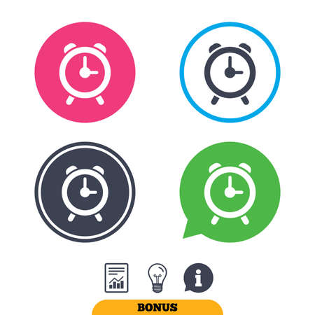 wake up call: Alarm clock sign icon. Wake up alarm symbol. Report document, information sign and light bulb icons. Vector