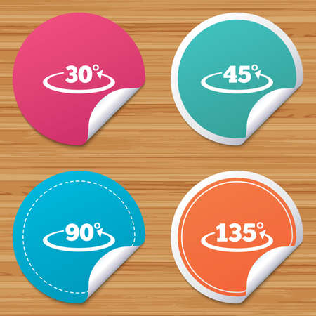Round stickers or website banners. Angle 30-135 degrees icons. Geometry math signs symbols. Full complete rotation arrow. Circle badges with bended corner. Vector