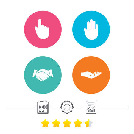Hand icons. Handshake successful business symbol. Click here press sign. Human helping donation hand. Calendar, cogwheel and report linear icons. Star vote ranking. Vector