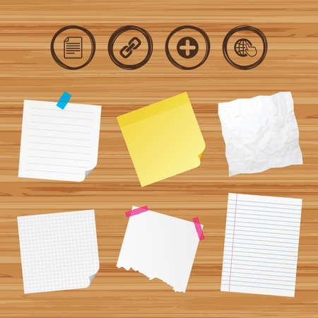 paper chain: Business paper banners with notes. Plus add circle and hyperlink chain icons. Document file and globe with hand pointer sign symbols. Sticky colorful tape. Vector