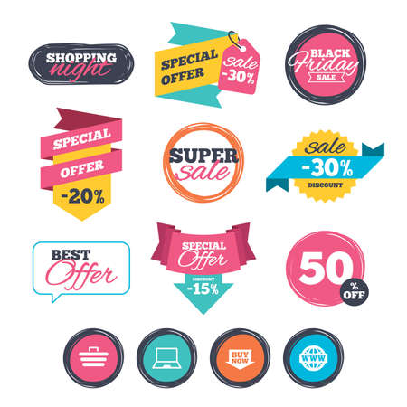 ultrabook: Sale stickers, online shopping. Online shopping icons. Notebook pc, shopping cart, buy now arrow and internet signs. WWW globe symbol. Website badges. Black friday. Vector Illustration