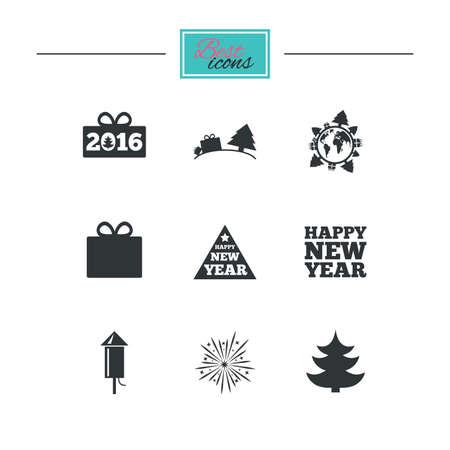 salut: Christmas, new year icons. Gift box, fireworks signs. Santa bag, salut and rocket symbols. Black flat icons. Classic design. Vector Illustration