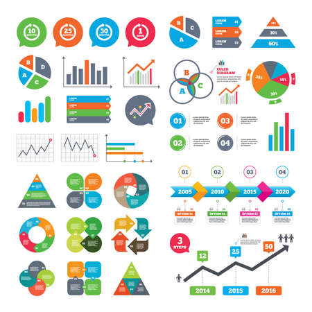 full time: Business charts. Growth graph. Every 10, 25, 30 minutes and 1 hour icons. Full rotation arrow symbols. Iterative process signs. Market report presentation. Vector