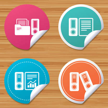 accountancy: Round stickers or website banners. Accounting report icons. Document storage in folders sign symbols. Circle badges with bended corner. Vector Illustration